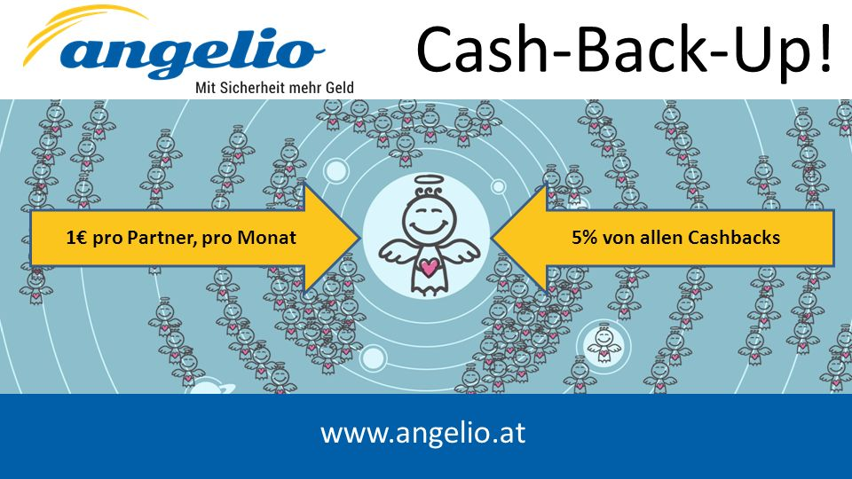 www.angelio.at Cash-Back-Up! 1€ pro Partner, pro Monat5% von allen Cashbacks