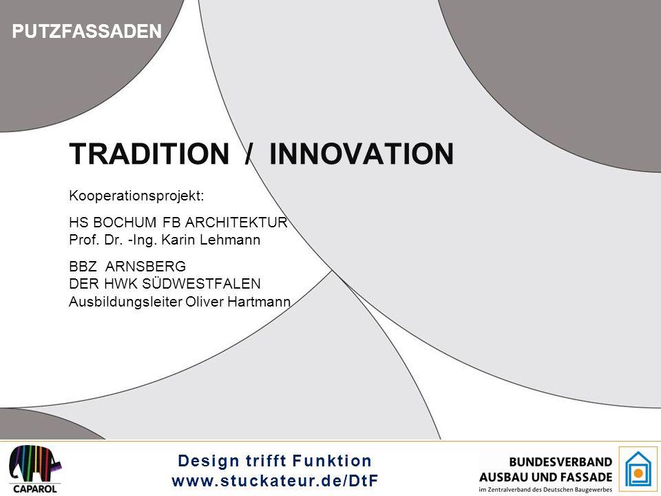 """Design trifft Funktion www.stuckateur.de/DtF HS BOCHUM, FB ARCHITEKTUR BBZ ARNSBERG DER HWK SÜDWESTFALEN PUTZFASSADEN TRADITION / INNOVATION INNOVATION THE HARMONY OF FACADE ELEMENTS - In diesem Projekt ist es unser Ziel, die """"Funktionselemente so zu integrieren, dass die Fassade nach wie vor harmonisch als Fläche wirken kann."""