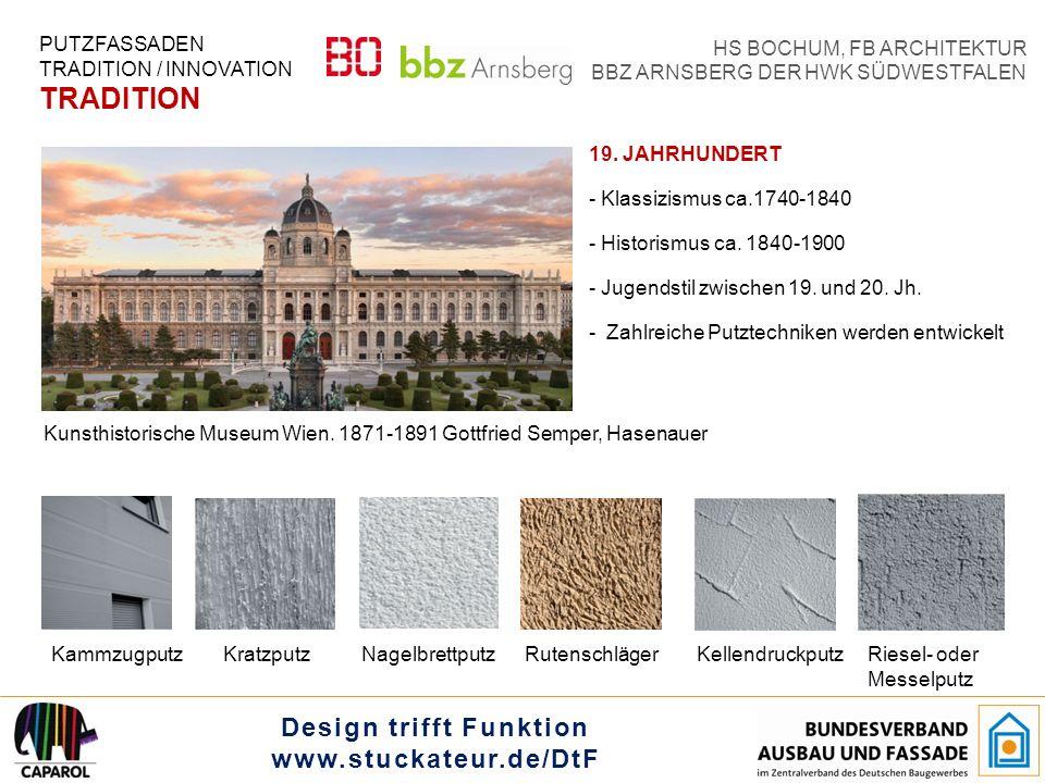 """Design trifft Funktion www.stuckateur.de/DtF HS BOCHUM, FB ARCHITEKTUR BBZ ARNSBERG DER HWK SÜDWESTFALEN KLASSISCHE MODERNE - 1910 -1933 - Neue Materialien: Stahl, Glas Beton - Strenge Formen, Reduzierung auf das Wesentliche - Putztechniken unterstützen die """"Flächigkeit in der Architektur PUTZFASSADEN TRADITION / INNOVATION TRADITION NesterputzErlweinputz Bauhaus Dessau."""