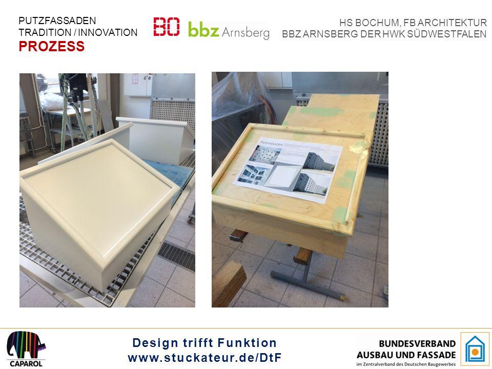 Design trifft Funktion www.stuckateur.de/DtF HS BOCHUM, FB ARCHITEKTUR BBZ ARNSBERG DER HWK SÜDWESTFALEN PUTZFASSADEN TRADITION / INNOVATION PROZESS