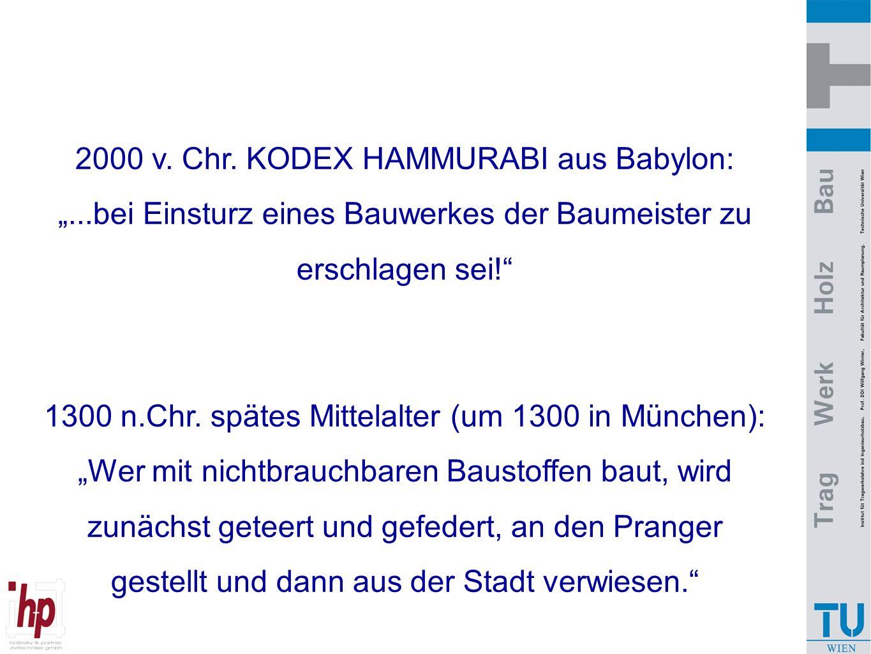 """2000 v. Chr. KODEX HAMMURABI aus Babylon: """"...bei Einsturz eines Bauwerkes der Baumeister zu erschlagen sei!"""" 1300 n.Chr. spätes Mittelalter (um 1300"""