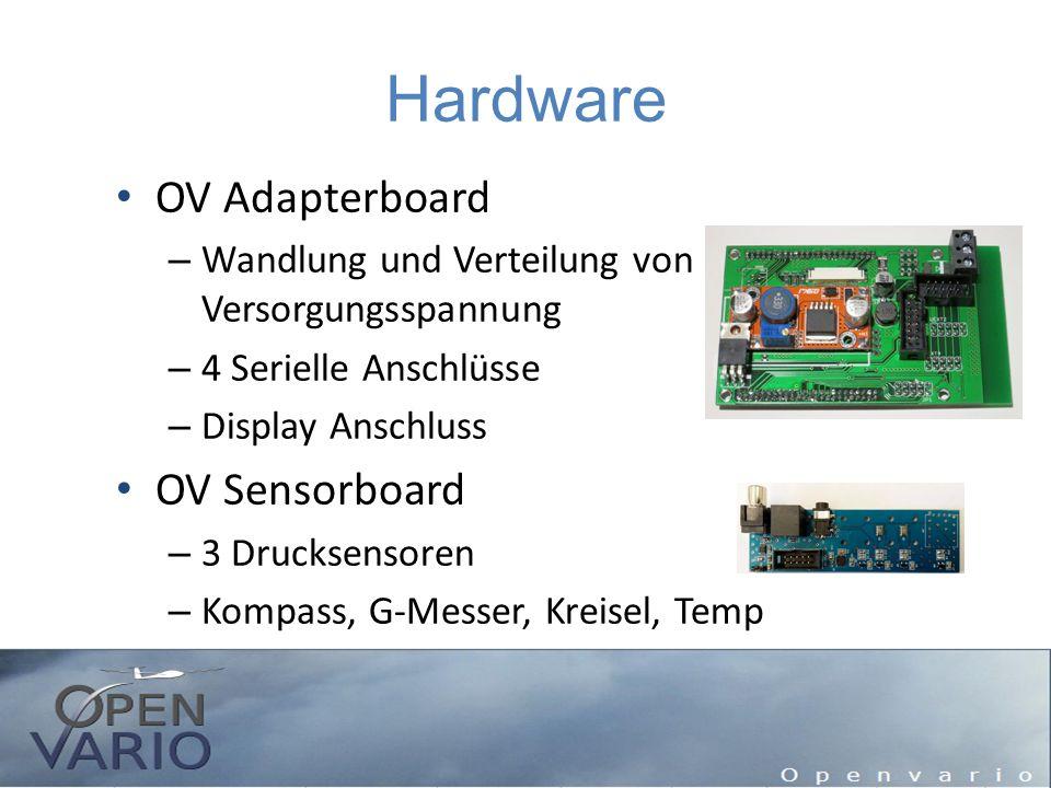 Hardware OV Adapterboard – Wandlung und Verteilung von Versorgungsspannung – 4 Serielle Anschlüsse – Display Anschluss OV Sensorboard – 3 Drucksensore