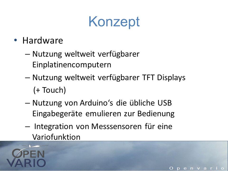 Konzept Hardware – Nutzung weltweit verfügbarer Einplatinencomputern – Nutzung weltweit verfügbarer TFT Displays (+ Touch) – Nutzung von Arduino's die