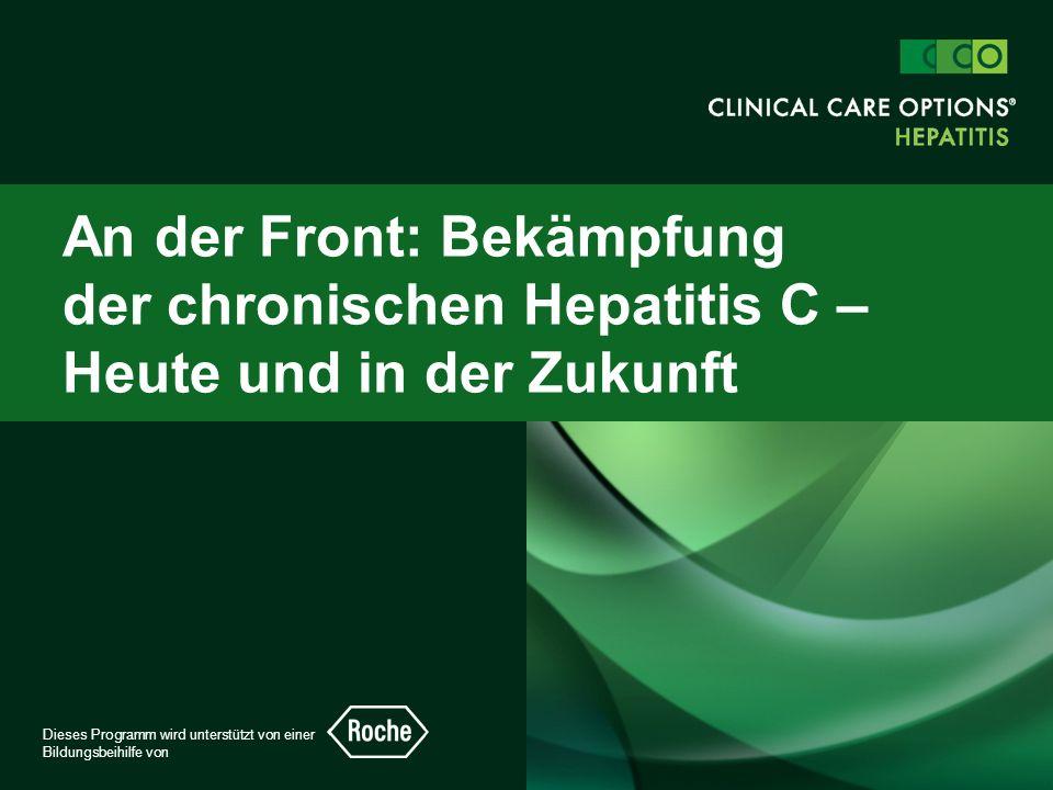 clinicaloptions.com/hepatitis An der Front: Bekämpfung der chronischen Hepatitis C – Heute und in Zukunft Fall 1  26-jährige weiße Frau, die sich während des Studiums durch das Experimentieren mit Drogen mit HCV infizierte  Schloss das Studium ab und hat vor kurzem geheiratet  Möchte wissen, wann sie mit der Behandlung beginnen sollte, da sie eine Schwangerschaft plant  Ansonsten gesund mit normalem Körpergewicht  ALT: 2 x ULN, HCV-RNS: 400.000 IE/ml, Genotyp 3a  Leberbiopsie: F1