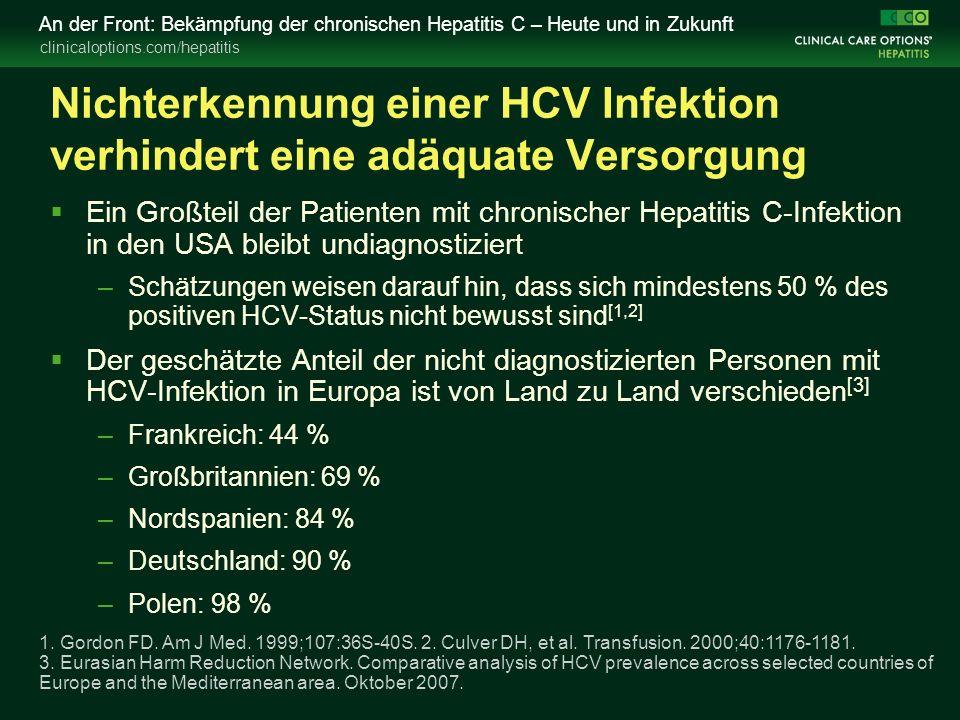 clinicaloptions.com/hepatitis An der Front: Bekämpfung der chronischen Hepatitis C – Heute und in Zukunft Nichterkennung einer HCV Infektion verhinder