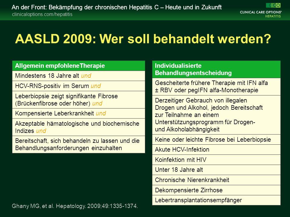 clinicaloptions.com/hepatitis An der Front: Bekämpfung der chronischen Hepatitis C – Heute und in Zukunft AASLD 2009: Wer soll behandelt werden? Allge