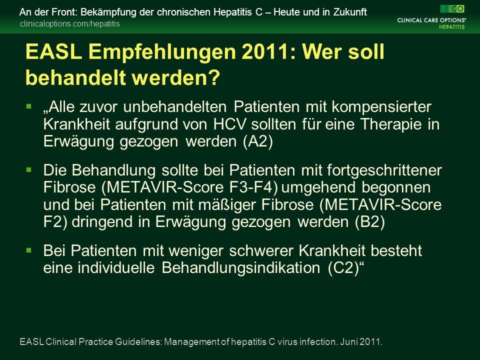 clinicaloptions.com/hepatitis An der Front: Bekämpfung der chronischen Hepatitis C – Heute und in Zukunft EASL Empfehlungen 2011: Wer soll behandelt werden.