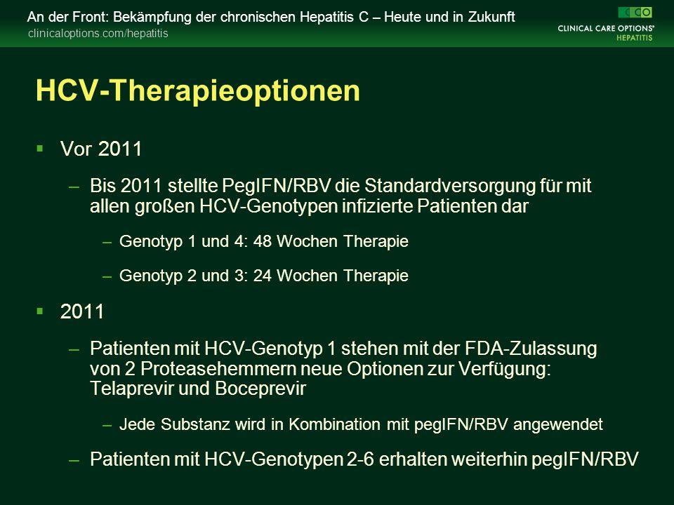 clinicaloptions.com/hepatitis An der Front: Bekämpfung der chronischen Hepatitis C – Heute und in Zukunft HCV-Therapieoptionen  Vor 2011 –Bis 2011 stellte PegIFN/RBV die Standardversorgung für mit allen großen HCV-Genotypen infizierte Patienten dar –Genotyp 1 und 4: 48 Wochen Therapie –Genotyp 2 und 3: 24 Wochen Therapie  2011 –Patienten mit HCV-Genotyp 1 stehen mit der FDA-Zulassung von 2 Proteasehemmern neue Optionen zur Verfügung: Telaprevir und Boceprevir –Jede Substanz wird in Kombination mit pegIFN/RBV angewendet –Patienten mit HCV-Genotypen 2-6 erhalten weiterhin pegIFN/RBV