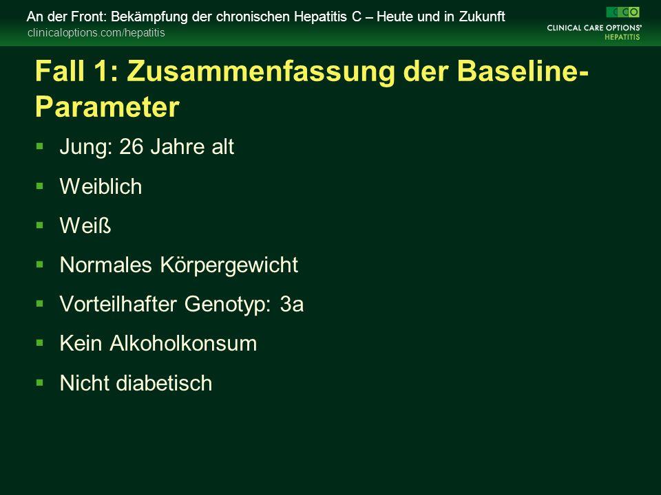 clinicaloptions.com/hepatitis An der Front: Bekämpfung der chronischen Hepatitis C – Heute und in Zukunft Fall 1: Zusammenfassung der Baseline- Parame