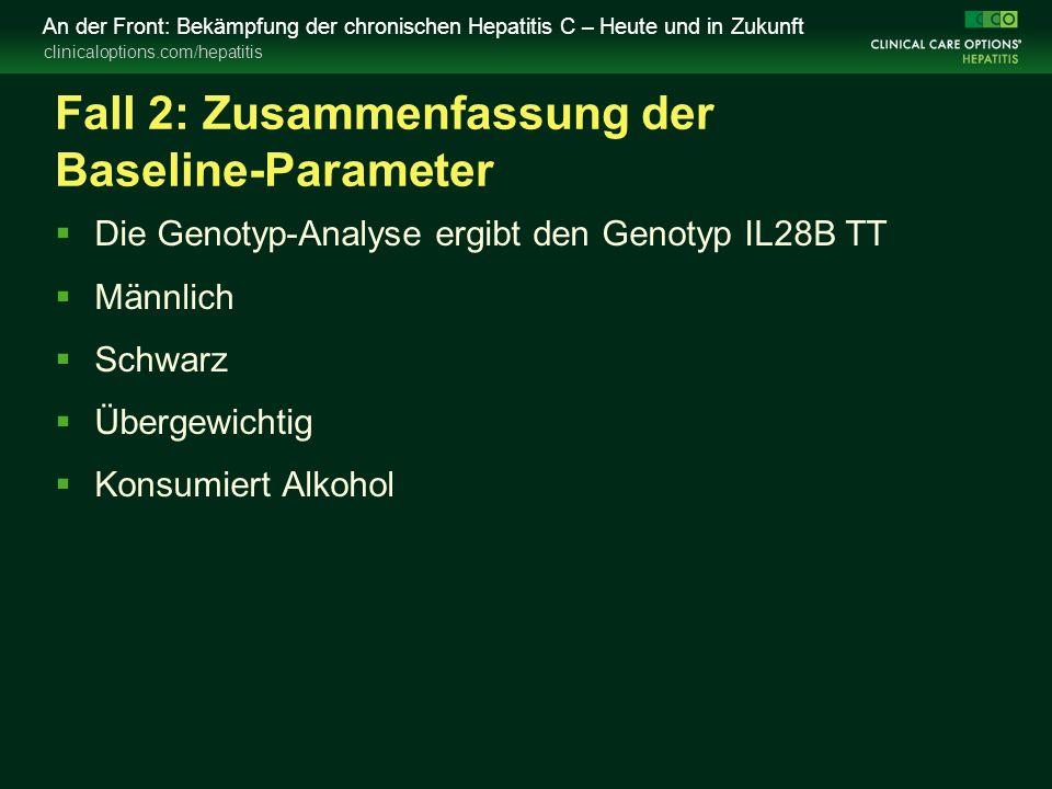clinicaloptions.com/hepatitis An der Front: Bekämpfung der chronischen Hepatitis C – Heute und in Zukunft Fall 2: Zusammenfassung der Baseline-Paramet