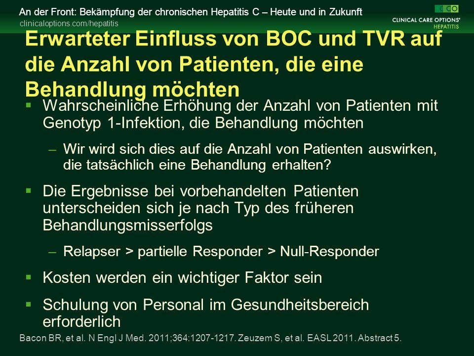 clinicaloptions.com/hepatitis An der Front: Bekämpfung der chronischen Hepatitis C – Heute und in Zukunft Erwarteter Einfluss von BOC und TVR auf die