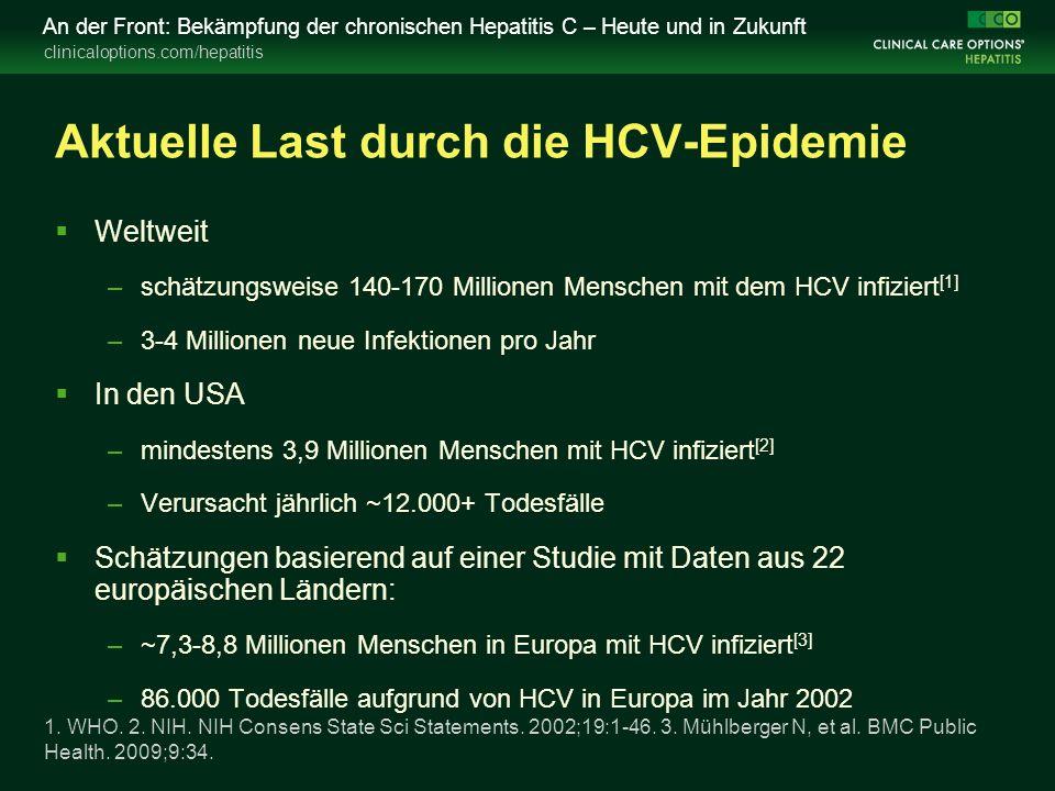 clinicaloptions.com/hepatitis An der Front: Bekämpfung der chronischen Hepatitis C – Heute und in Zukunft Wirtschaftliche Belastung durch die HCV-Epidemie  In wenigen Ländern wurden Studien zur Schätzung der HCV-bezogenen Kosten durchgeführt –Die meisten Studien basieren auf unzuverlässigen Schätzungen  In den Vereinigten Staaten werden die medizinischen Gesamtkosten für HCV-Infektionen von 30 Milliarden US- Dollar im Jahr 2009 voraussichtlich auf >85 Milliarden US- Dollar im Jahr 2024 ansteigen –Schätzung basiert auf pegIFN/RBV-Behandlung; potenzielle Auswirkung von DAAs nicht bekannt Milliman, Inc.