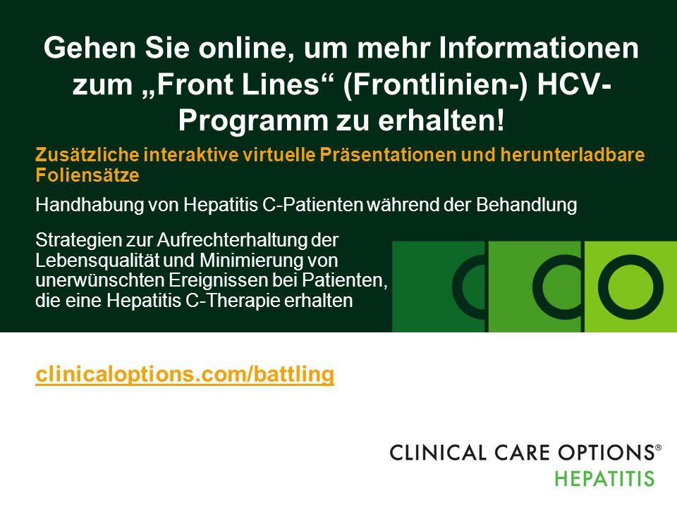 """Gehen Sie online, um mehr Informationen zum """"Front Lines (Frontlinien-) HCV- Programm zu erhalten."""