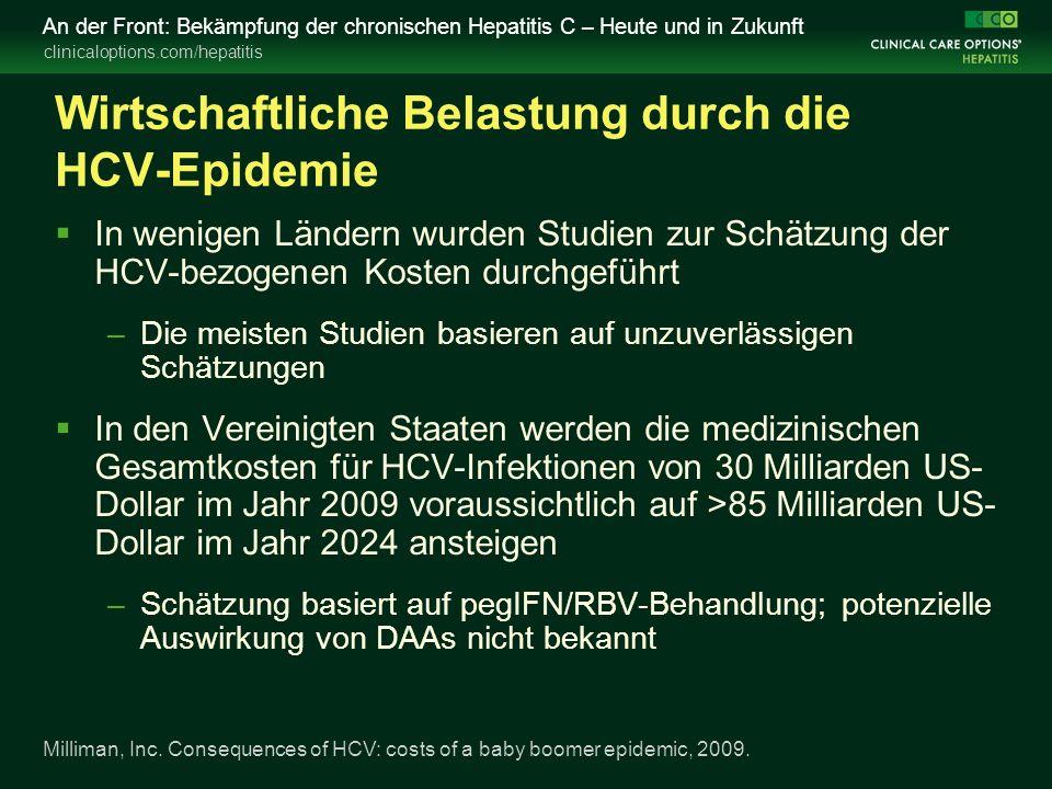 clinicaloptions.com/hepatitis An der Front: Bekämpfung der chronischen Hepatitis C – Heute und in Zukunft Überlegungen bei der Beratung vor der Behandlung in Zusammenhang mit Boceprevir und Telaprevir (GT 1)  Neue Diskussionspunkte –Potenzial für eine kürzere Therapiedauer, wenn der Patient ein frühes Ansprechen zeigt –Behandlungsdauer mit Telaprevir gegenüber Boceprevir –Für Boceprevir: Rolle der Lead-in-Behandlung mit pegIFN/RBV –Optionen bei einem RVR des Patienten –Erhöhte Kosten