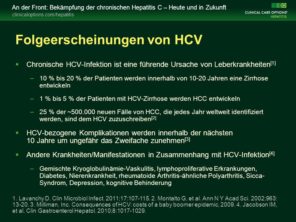 clinicaloptions.com/hepatitis An der Front: Bekämpfung der chronischen Hepatitis C – Heute und in Zukunft Folgeerscheinungen von HCV  Chronische HCV-Infektion ist eine führende Ursache von Leberkrankheiten [1] –10 % bis 20 % der Patienten werden innerhalb von 10-20 Jahren eine Zirrhose entwickeln –1 % bis 5 % der Patienten mit HCV-Zirrhose werden HCC entwickeln –25 % der ~500.000 neuen Fälle von HCC, die jedes Jahr weltweit identifiziert werden, sind dem HCV zuzuschreiben [2]  HCV-bezogene Komplikationen werden innerhalb der nächsten 10 Jahre um ungefähr das Zweifache zunehmen [3]  Andere Krankheiten/Manifestationen in Zusammenhang mit HCV-Infektion [4] –Gemischte Kryoglobulinämie-Vaskulitis, lymphoproliferative Erkrankungen, Diabetes, Nierenkrankheit, rheumatoide Arthritis-ähnliche Polyarthritis, Sicca- Syndrom, Depression, kognitive Behinderung 1.