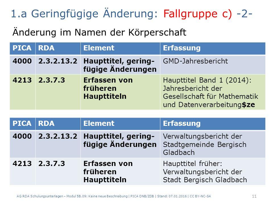 AG RDA Schulungsunterlagen – Modul 5B.09: Keine neue Beschreibung | PICA DNB/ZDB | Stand: 07.01.2016 | CC BY-NC-SA 11 PICARDAElementErfassung 40002.3.2.13.2Haupttitel, gering- fügige Änderungen GMD-Jahresbericht 42132.3.7.3Erfassen von früheren Haupttiteln Haupttitel Band 1 (2014): Jahresbericht der Gesellschaft für Mathematik und Datenverarbeitung$ze 1.a Geringfügige Änderung: Fallgruppe c) -2- Änderung im Namen der Körperschaft PICARDAElementErfassung 40002.3.2.13.2Haupttitel, gering- fügige Änderungen Verwaltungsbericht der Stadtgemeinde Bergisch Gladbach 42132.3.7.3Erfassen von früheren Haupttiteln Haupttitel früher: Verwaltungsbericht der Stadt Bergisch Gladbach