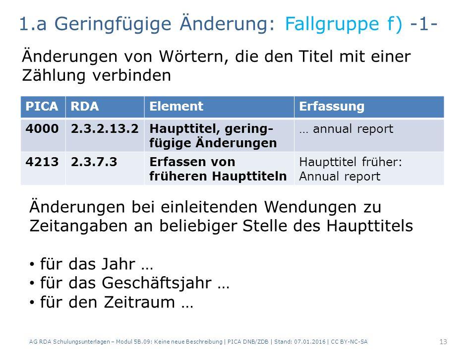 AG RDA Schulungsunterlagen – Modul 5B.09: Keine neue Beschreibung | PICA DNB/ZDB | Stand: 07.01.2016 | CC BY-NC-SA 13 PICARDAElementErfassung 40002.3.2.13.2Haupttitel, gering- fügige Änderungen … annual report 42132.3.7.3Erfassen von früheren Haupttiteln Haupttitel früher: Annual report 1.a Geringfügige Änderung: Fallgruppe f) -1- Änderungen von Wörtern, die den Titel mit einer Zählung verbinden Änderungen bei einleitenden Wendungen zu Zeitangaben an beliebiger Stelle des Haupttitels für das Jahr … für das Geschäftsjahr … für den Zeitraum …