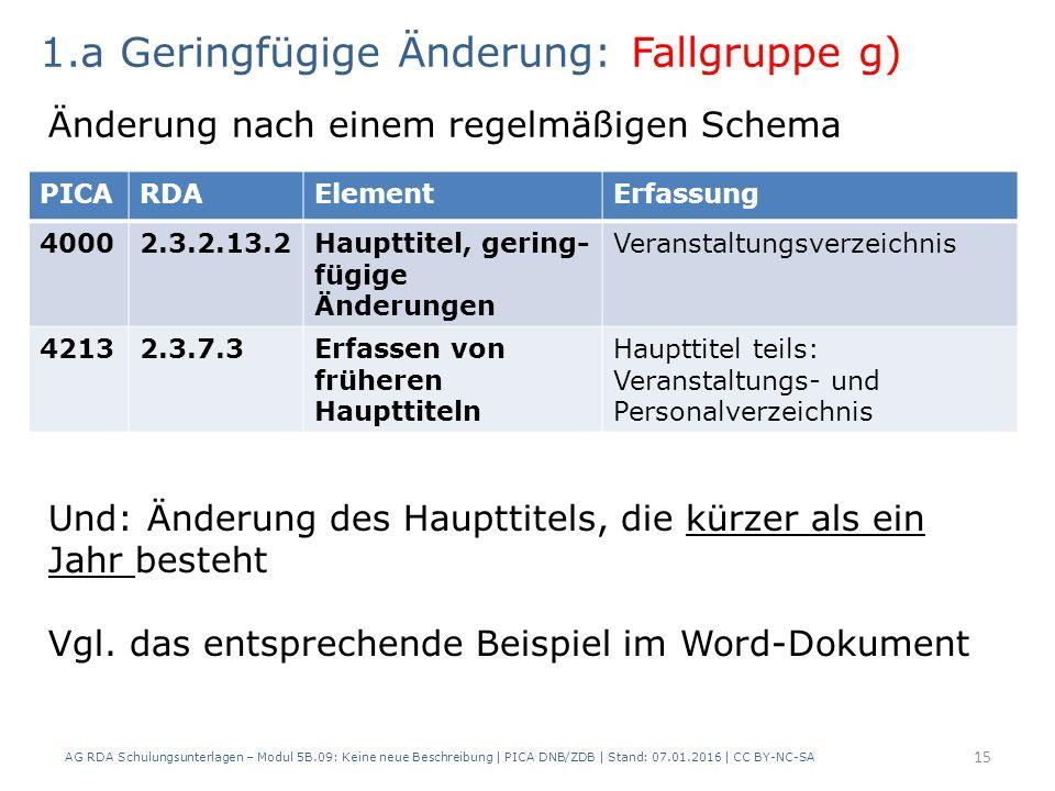 AG RDA Schulungsunterlagen – Modul 5B.09: Keine neue Beschreibung | PICA DNB/ZDB | Stand: 07.01.2016 | CC BY-NC-SA 15 PICARDAElementErfassung 40002.3.2.13.2Haupttitel, gering- fügige Änderungen Veranstaltungsverzeichnis 42132.3.7.3Erfassen von früheren Haupttiteln Haupttitel teils: Veranstaltungs- und Personalverzeichnis 1.a Geringfügige Änderung: Fallgruppe g) Änderung nach einem regelmäßigen Schema Und: Änderung des Haupttitels, die kürzer als ein Jahr besteht Vgl.
