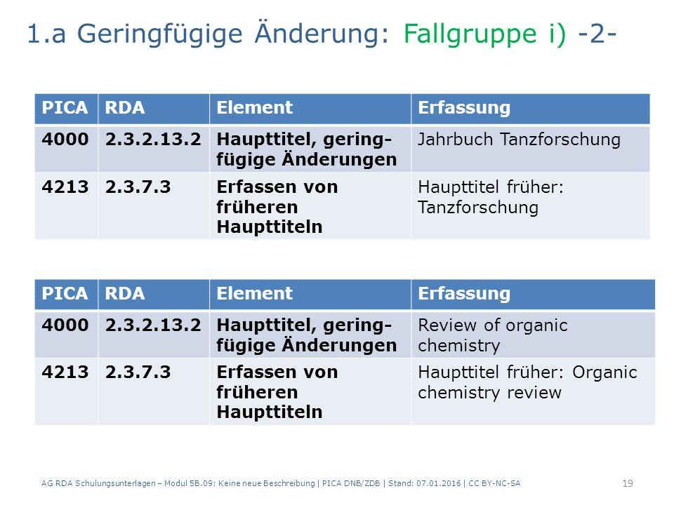 AG RDA Schulungsunterlagen – Modul 5B.09: Keine neue Beschreibung | PICA DNB/ZDB | Stand: 07.01.2016 | CC BY-NC-SA 19 PICARDAElementErfassung 40002.3.