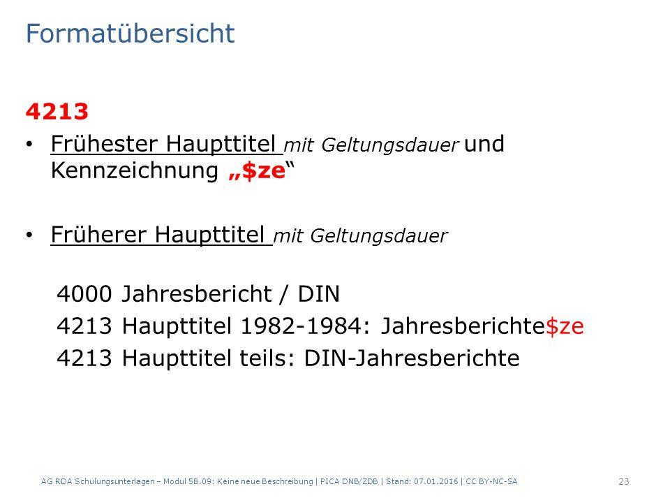 """Formatübersicht 4213 Frühester Haupttitel mit Geltungsdauer und Kennzeichnung """"$ze"""" Früherer Haupttitel mit Geltungsdauer 4000 Jahresbericht / DIN 421"""