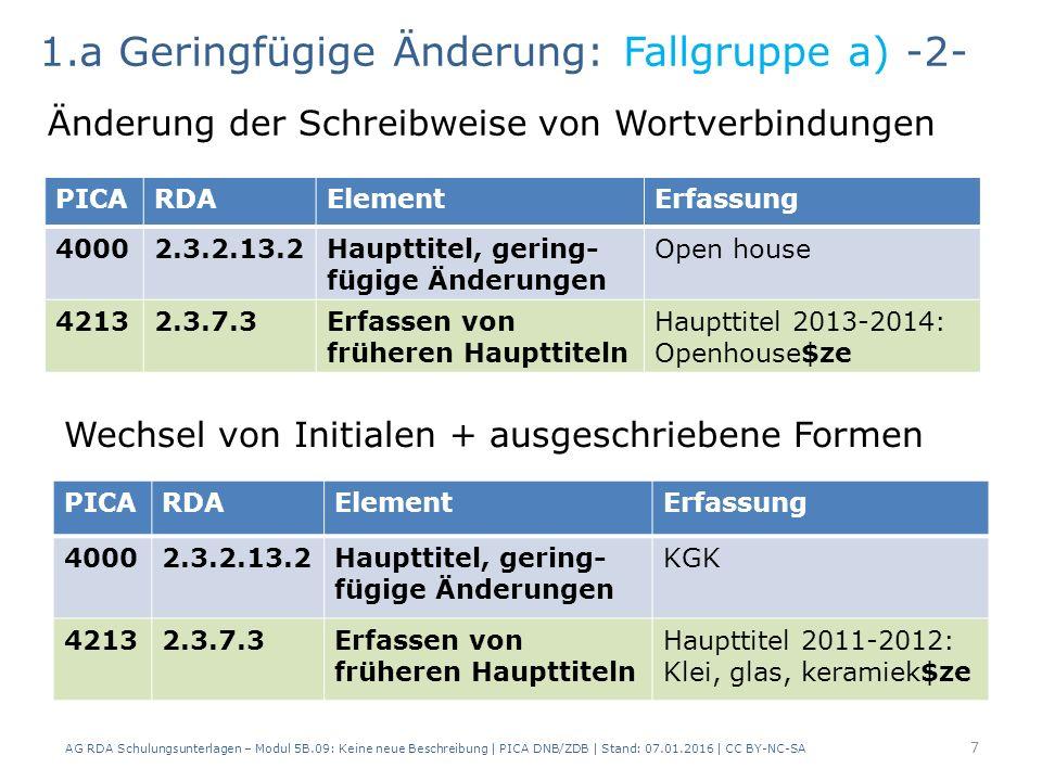 7 PICARDAElementErfassung 40002.3.2.13.2Haupttitel, gering- fügige Änderungen Open house 42132.3.7.3Erfassen von früheren Haupttiteln Haupttitel 2013-2014: Openhouse$ze 1.a Geringfügige Änderung: Fallgruppe a) -2- Änderung der Schreibweise von Wortverbindungen Wechsel von Initialen + ausgeschriebene Formen PICARDAElementErfassung 40002.3.2.13.2Haupttitel, gering- fügige Änderungen KGK 42132.3.7.3Erfassen von früheren Haupttiteln Haupttitel 2011-2012: Klei, glas, keramiek$ze