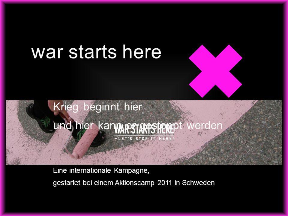 war starts here Krieg beginnt hier und hier kann er gestoppt werden Eine internationale Kampagne, gestartet bei einem Aktionscamp 2011 in Schweden