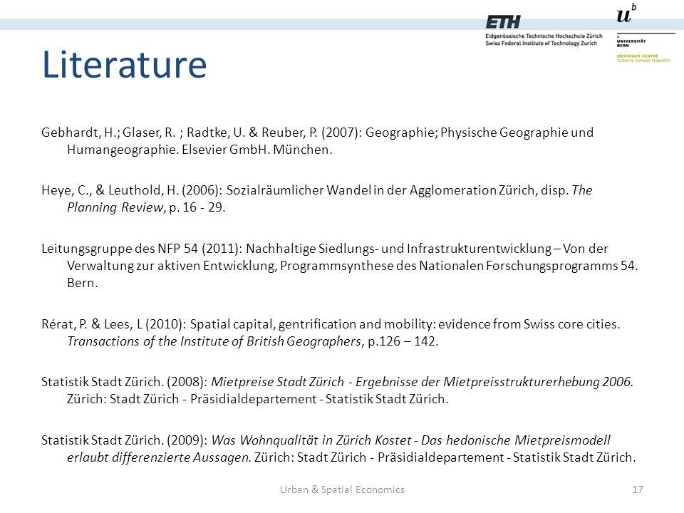 Literature Urban & Spatial Economics17 Gebhardt, H.; Glaser, R.