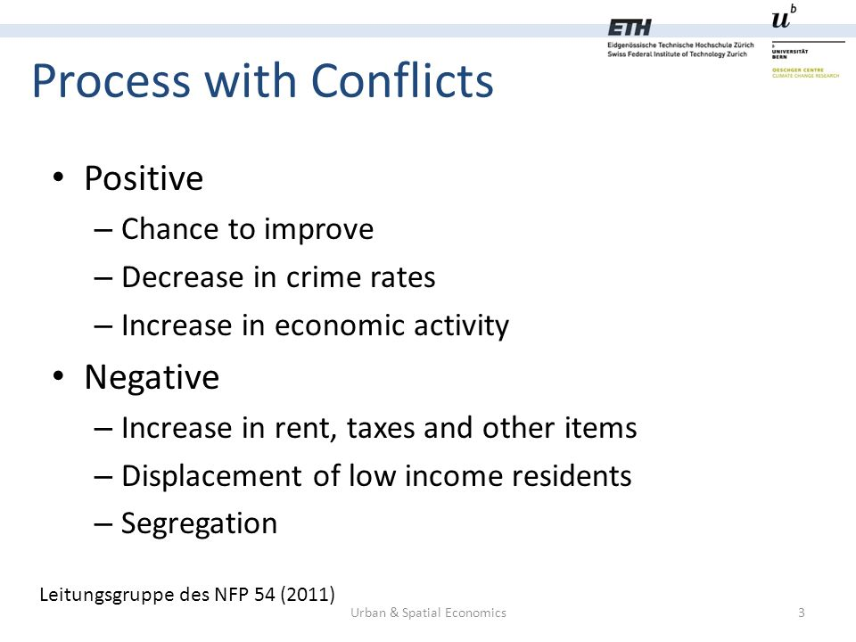 Process with Conflicts Urban & Spatial Economics3 Positive – Chance to improve – Decrease in crime rates – Increase in economic activity Negative – Increase in rent, taxes and other items – Displacement of low income residents – Segregation Leitungsgruppe des NFP 54 (2011)