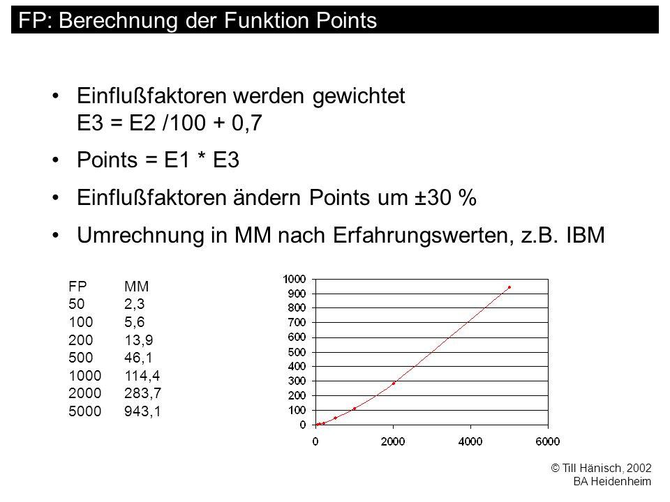 © Till Hänisch, 2002 BA Heidenheim FP: Berechnung der Funktion Points Einflußfaktoren werden gewichtet E3 = E2 /100 + 0,7 Points = E1 * E3 Einflußfaktoren ändern Points um ±30 % Umrechnung in MM nach Erfahrungswerten, z.B.