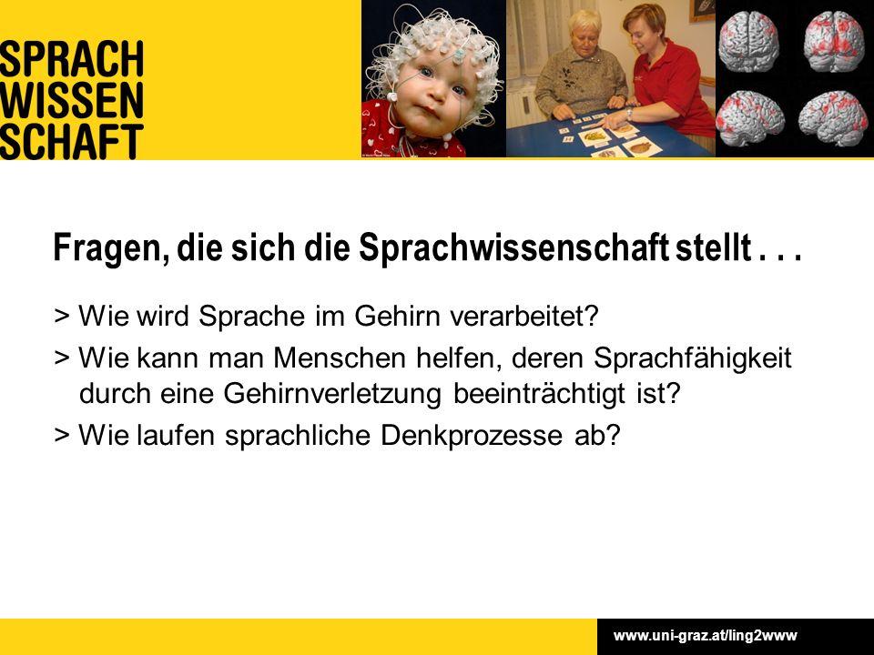 www.uni-graz.at/ling2www Fragen, die sich die Sprachwissenschaft stellt... > Wie wird Sprache im Gehirn verarbeitet? > Wie kann man Menschen helfen, d
