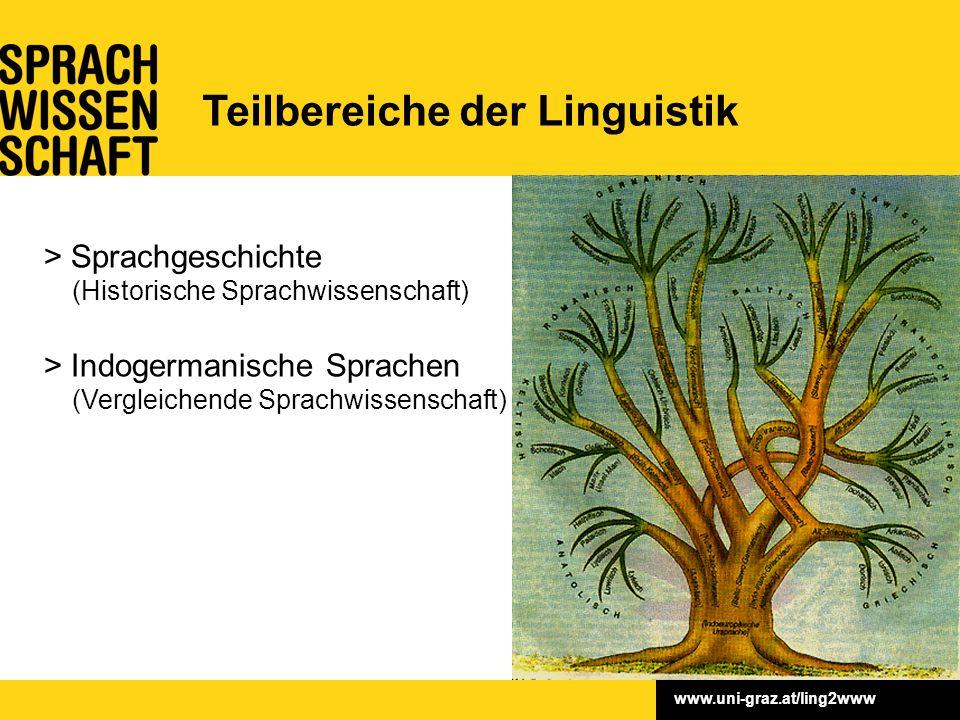 www.uni-graz.at/ling2www > Sprachgeschichte (Historische Sprachwissenschaft) > Indogermanische Sprachen (Vergleichende Sprachwissenschaft) Teilbereiche der Linguistik