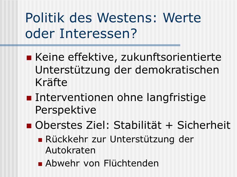 Politik des Westens: Werte oder Interessen.