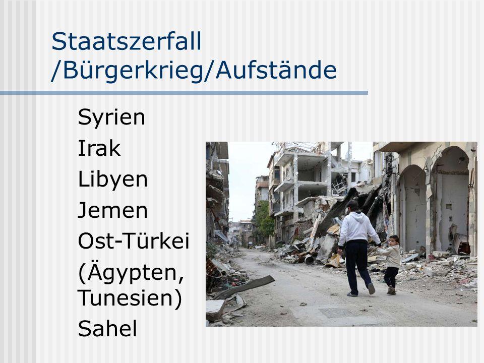 Staatszerfall /Bürgerkrieg/Aufstände Syrien Irak Libyen Jemen Ost-Türkei (Ägypten, Tunesien) Sahel