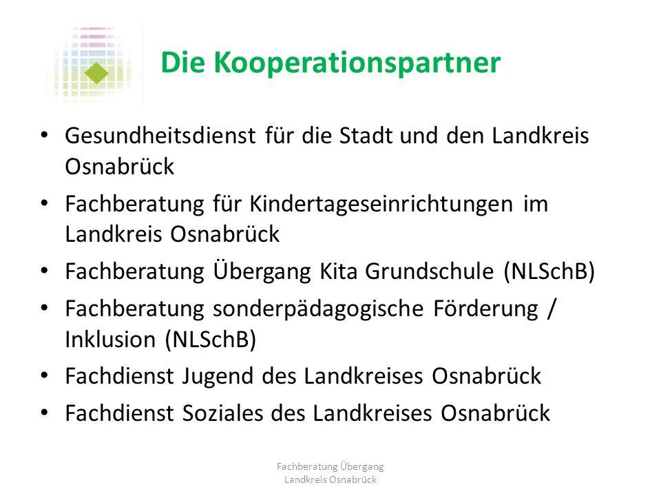 Die Kooperationspartner Gesundheitsdienst für die Stadt und den Landkreis Osnabrück Fachberatung für Kindertageseinrichtungen im Landkreis Osnabrück F