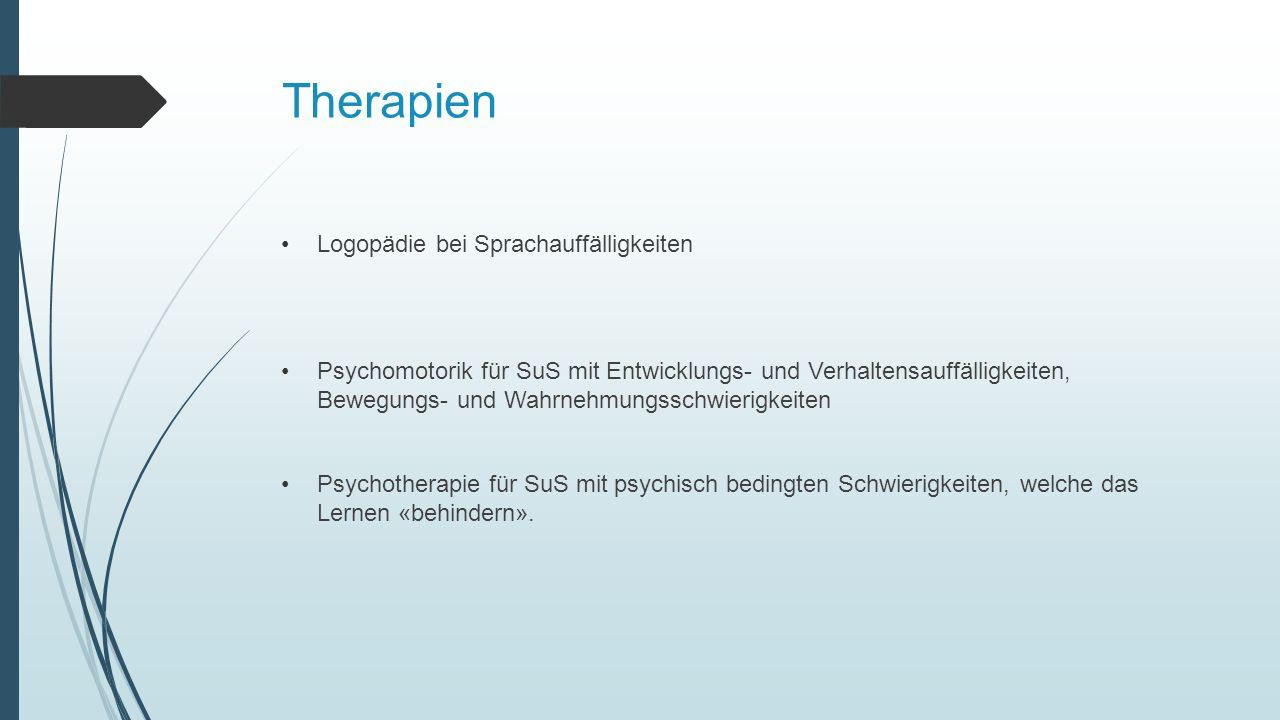 Therapien Logopädie bei Sprachauffälligkeiten Psychomotorik für SuS mit Entwicklungs- und Verhaltensauffälligkeiten, Bewegungs- und Wahrnehmungsschwierigkeiten Psychotherapie für SuS mit psychisch bedingten Schwierigkeiten, welche das Lernen «behindern».