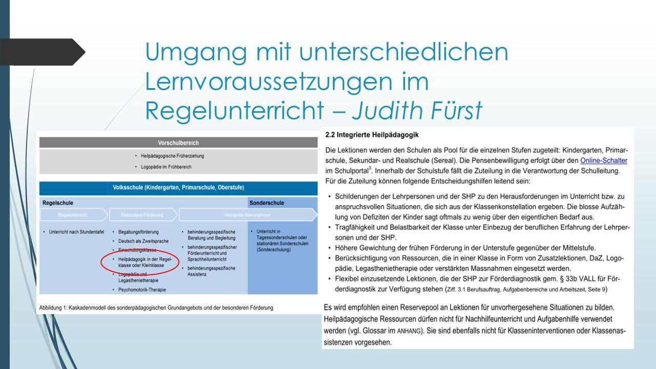 Umgang mit unterschiedlichen Lernvoraussetzungen im Regelunterricht – Judith Fürst