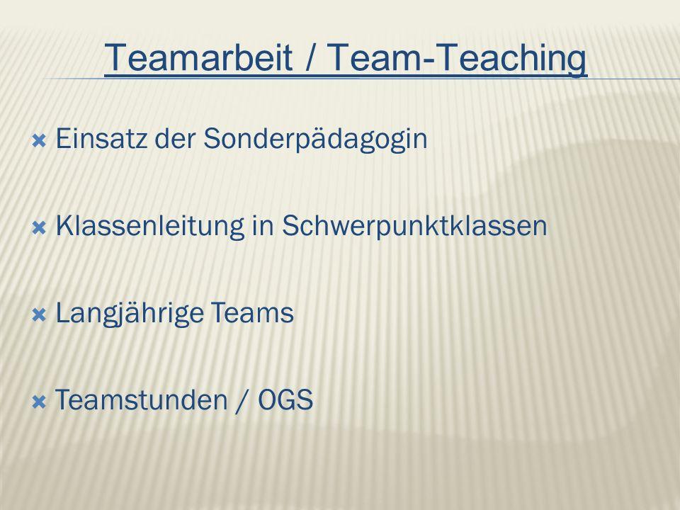  Einsatz der Sonderpädagogin  Klassenleitung in Schwerpunktklassen  Langjährige Teams  Teamstunden / OGS