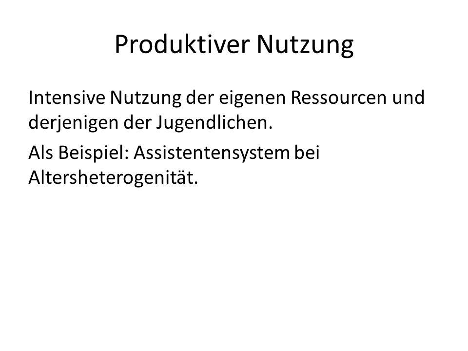 Produktiver Nutzung Intensive Nutzung der eigenen Ressourcen und derjenigen der Jugendlichen.