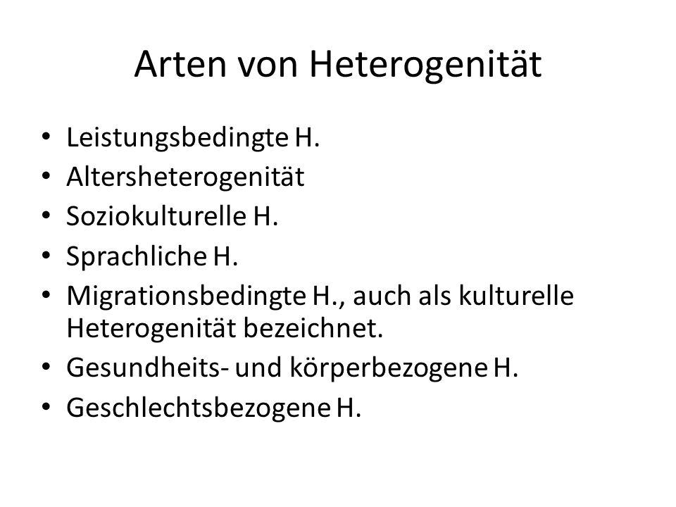 Arten von Heterogenität Leistungsbedingte H. Altersheterogenität Soziokulturelle H.