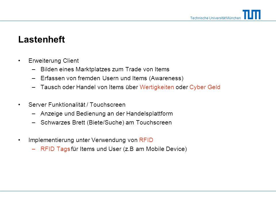 Technische Universität München Lastenheft Erweiterung Client –Bilden eines Marktplatzes zum Trade von Items –Erfassen von fremden Usern und Items (Awareness) –Tausch oder Handel von Items über Wertigkeiten oder Cyber Geld Server Funktionalität / Touchscreen –Anzeige und Bedienung an der Handelsplattform –Schwarzes Brett (Biete/Suche) am Touchscreen Implementierung unter Verwendung von RFID –RFID Tags für Items und User (z.B am Mobile Device)
