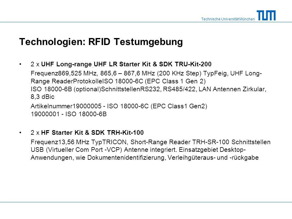 Technische Universität München Technologien: RFID Testumgebung 2 x UHF Long-range UHF LR Starter Kit & SDK TRU-Kit-200 Frequenz869,525 MHz, 865,6 – 867,6 MHz (200 KHz Step) TypFeig, UHF Long- Range ReaderProtokolleISO 18000-6C (EPC Class 1 Gen 2) ISO 18000-6B (optional)SchnittstellenRS232, RS485/422, LAN Antennen Zirkular, 8,3 dBic Artikelnummer19000005 - ISO 18000-6C (EPC Class1 Gen2) 19000001 - ISO 18000-6B 2 x HF Starter Kit & SDK TRH-Kit-100 Frequenz13,56 MHz TypTRICON, Short-Range Reader TRH-SR-100 Schnittstellen USB (Virtueller Com Port -VCP) Antenne integriert.