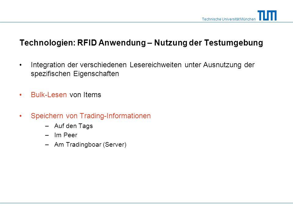 Technische Universität München Technologien: RFID Anwendung – Nutzung der Testumgebung Integration der verschiedenen Lesereichweiten unter Ausnutzung der spezifischen Eigenschaften Bulk-Lesen von Items Speichern von Trading-Informationen –Auf den Tags –Im Peer –Am Tradingboar (Server)
