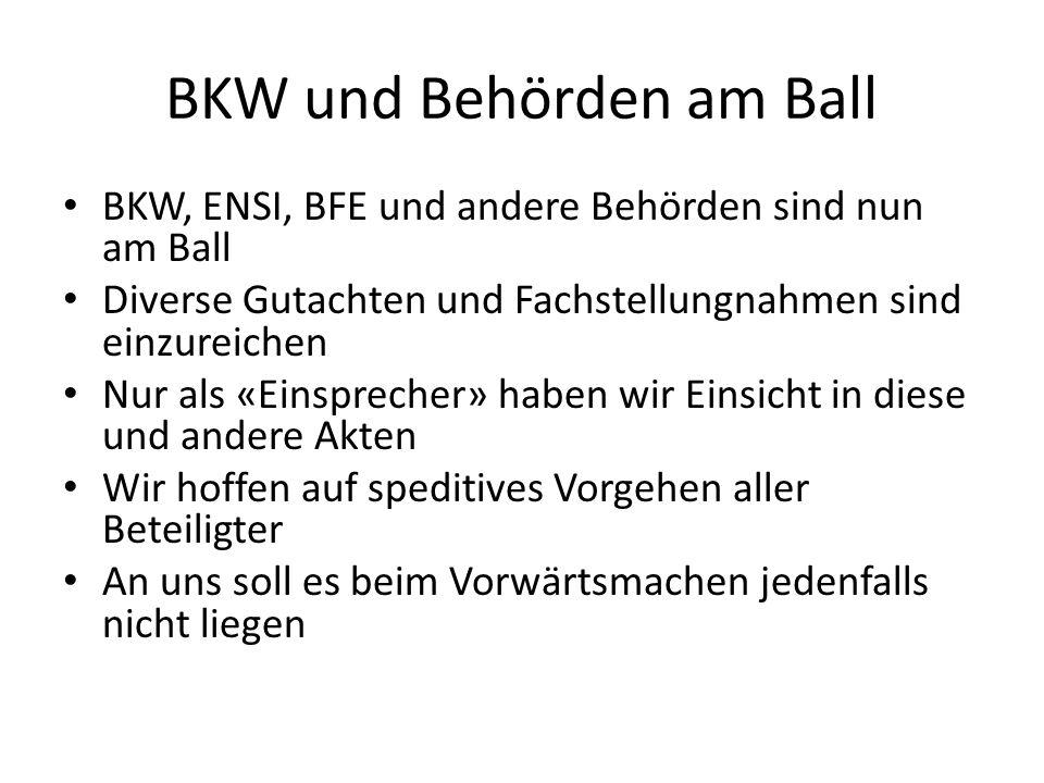BKW und Behörden am Ball BKW, ENSI, BFE und andere Behörden sind nun am Ball Diverse Gutachten und Fachstellungnahmen sind einzureichen Nur als «Einsprecher» haben wir Einsicht in diese und andere Akten Wir hoffen auf speditives Vorgehen aller Beteiligter An uns soll es beim Vorwärtsmachen jedenfalls nicht liegen