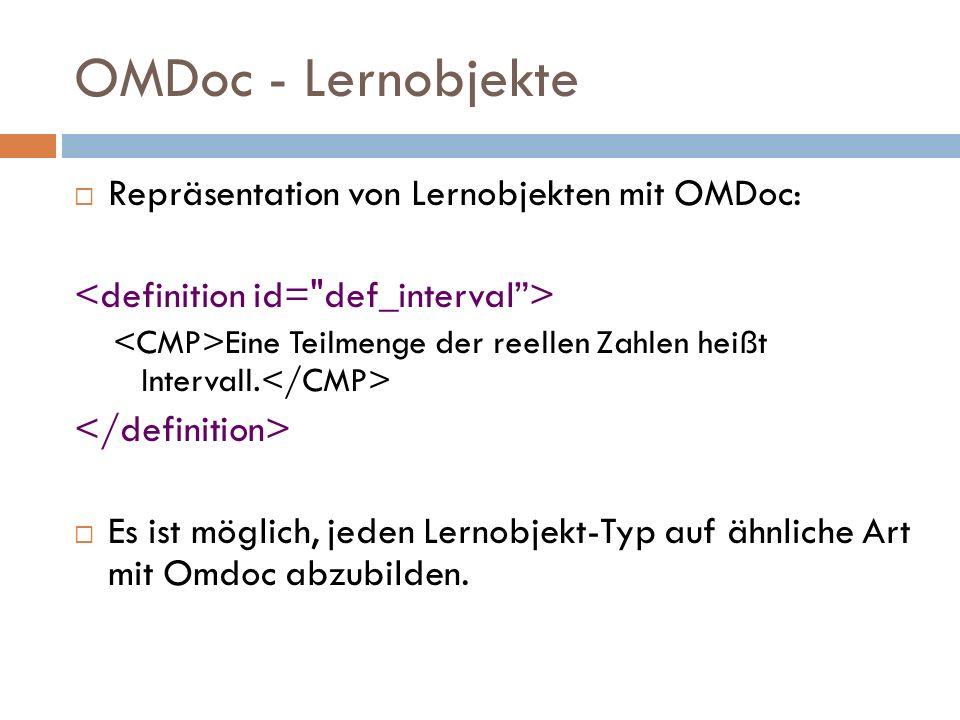 OMDoc - Lernobjekte  Repräsentation von Lernobjekten mit OMDoc: Eine Teilmenge der reellen Zahlen heißt Intervall.