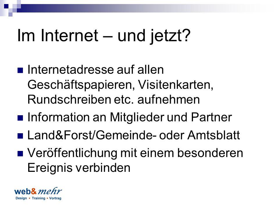 Im Internet – und jetzt.