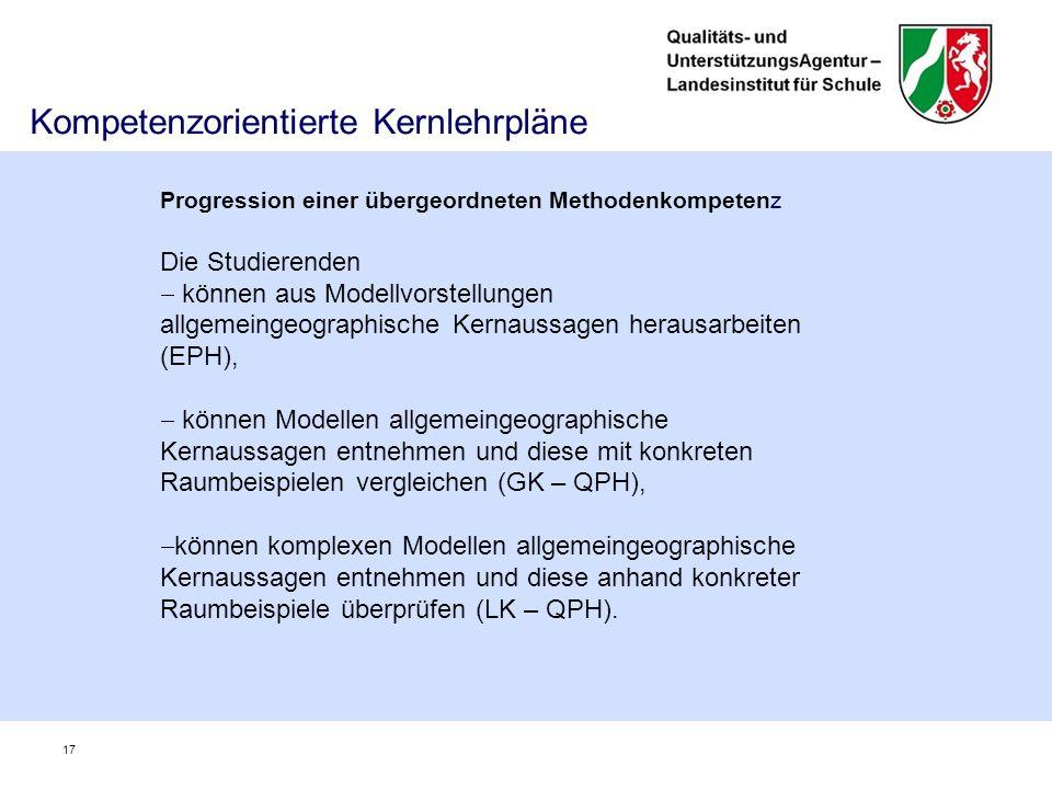 Kompetenzorientierte Kernlehrpläne 17 Progression einer übergeordneten Methodenkompetenz Die Studierenden  können aus Modellvorstellungen allgemeingeographische Kernaussagen herausarbeiten (EPH),  können Modellen allgemeingeographische Kernaussagen entnehmen und diese mit konkreten Raumbeispielen vergleichen (GK – QPH),  können komplexen Modellen allgemeingeographische Kernaussagen entnehmen und diese anhand konkreter Raumbeispiele überprüfen (LK – QPH).
