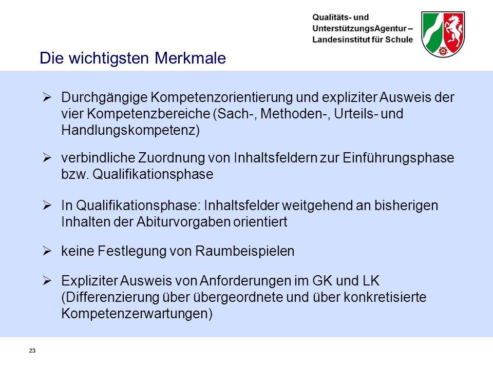 23 Die wichtigsten Merkmale 23  Durchgängige Kompetenzorientierung und expliziter Ausweis der vier Kompetenzbereiche (Sach-, Methoden-, Urteils- und Handlungskompetenz)  verbindliche Zuordnung von Inhaltsfeldern zur Einführungsphase bzw.