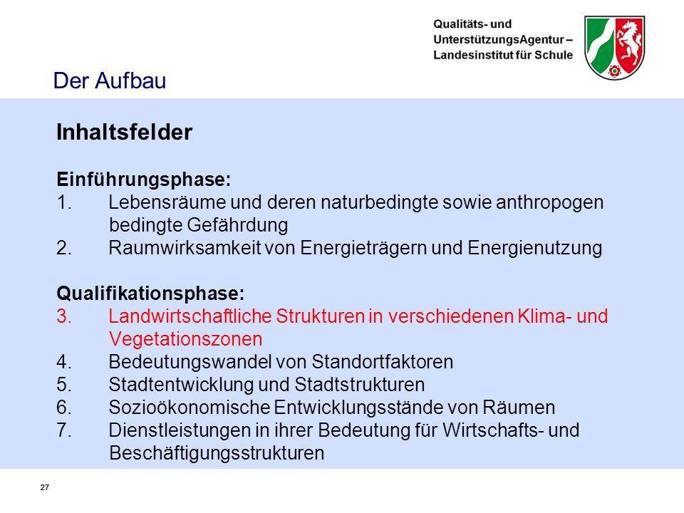 27 Der Aufbau Inhaltsfelder Einführungsphase: 1.