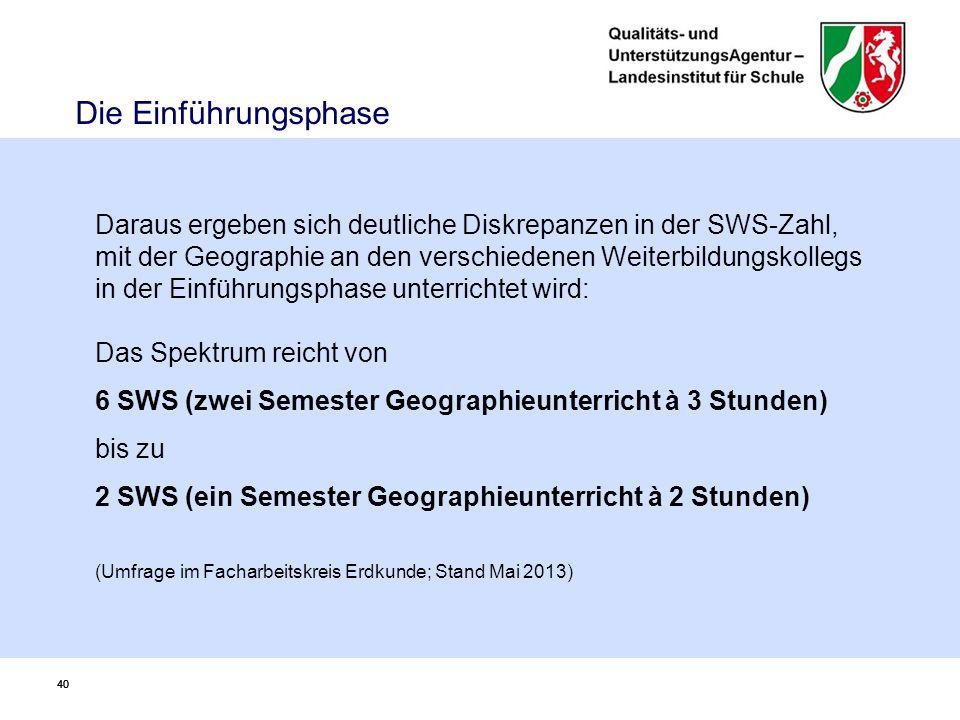 40 Die Einführungsphase Daraus ergeben sich deutliche Diskrepanzen in der SWS-Zahl, mit der Geographie an den verschiedenen Weiterbildungskollegs in der Einführungsphase unterrichtet wird: Das Spektrum reicht von 6 SWS (zwei Semester Geographieunterricht à 3 Stunden) bis zu 2 SWS (ein Semester Geographieunterricht à 2 Stunden) (Umfrage im Facharbeitskreis Erdkunde; Stand Mai 2013)