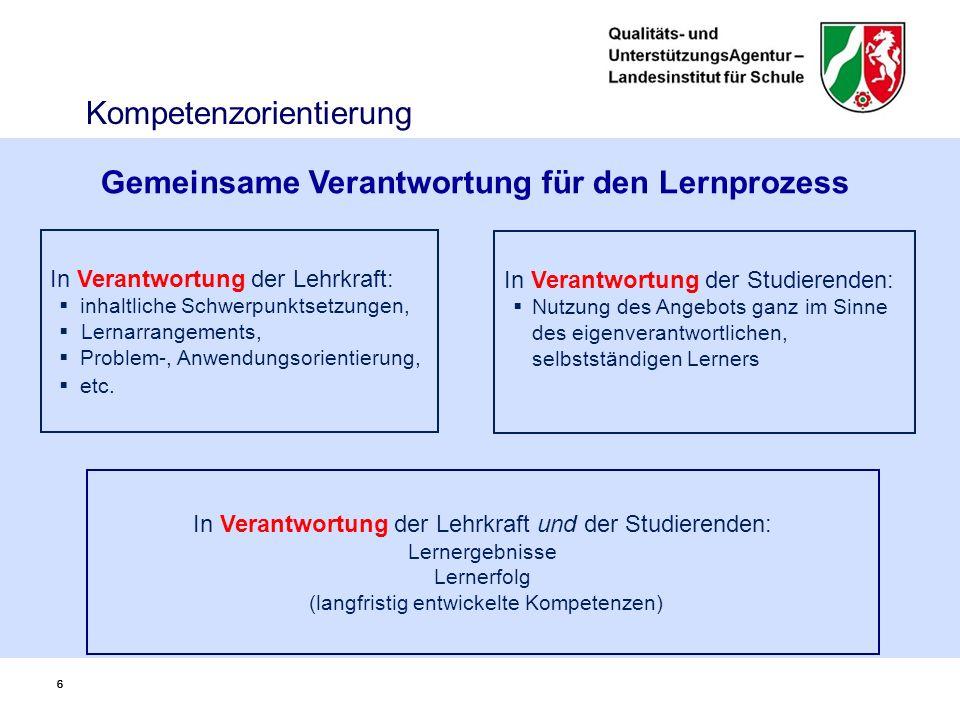 66 In Verantwortung der Lehrkraft:  inhaltliche Schwerpunktsetzungen,  Lernarrangements,  Problem-, Anwendungsorientierung,  etc.